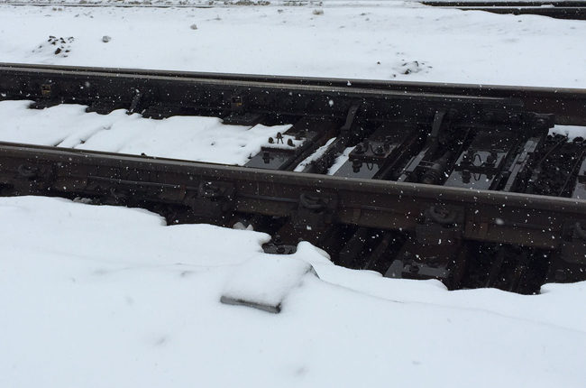 Railroad Tracks and Snow